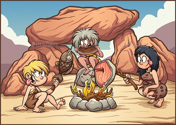 Cave Women Eating - People Characters