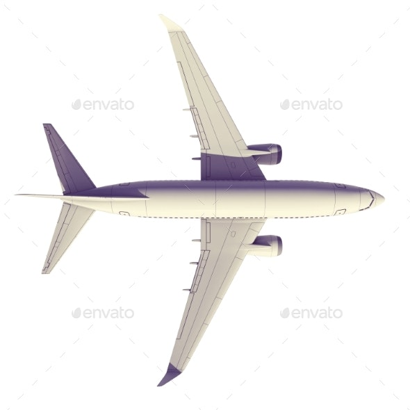 Commercial Jet Plane. 3D Render. View From the Top - Miscellaneous 3D Renders