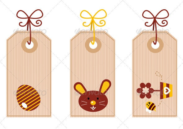 Retro easter labels set isolated on white - Seasons Nature