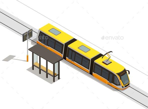 Tram Stop Isometric Composition - Miscellaneous Vectors