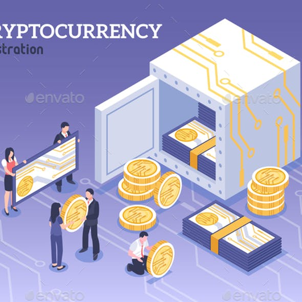 Isometric Cryptocurrency Illustration