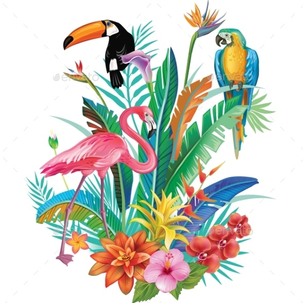 Composition of Tropical Flowers and Birds - Flowers & Plants Nature