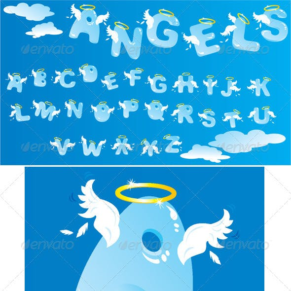 Alphabet with Funny Angels Letters and Clouds