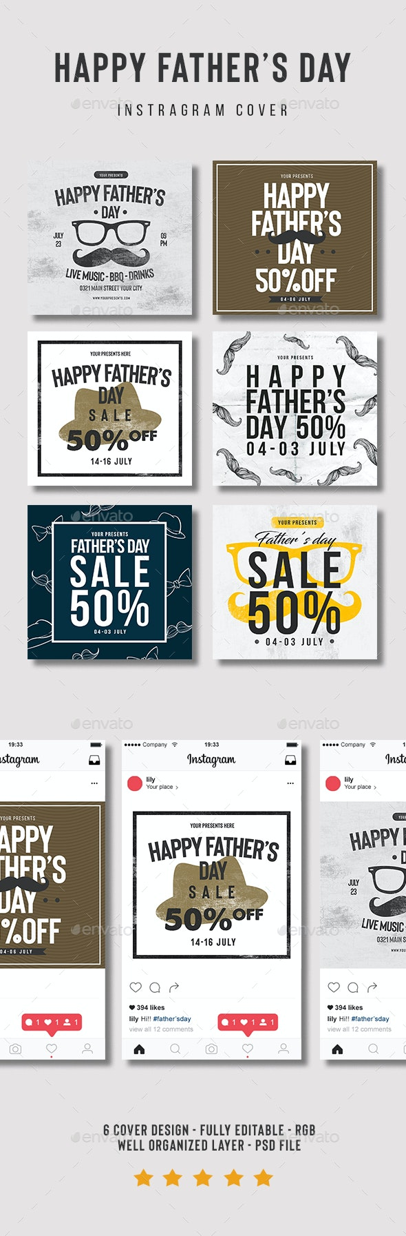 Father's Day Flyer Instagram Cover - Social Media Web Elements