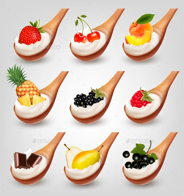 Collection of Fruits With Yogurt In Spoon - Food Objects