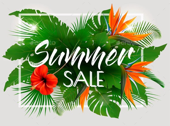 Tropical Summer Sale Background - Flowers & Plants Nature