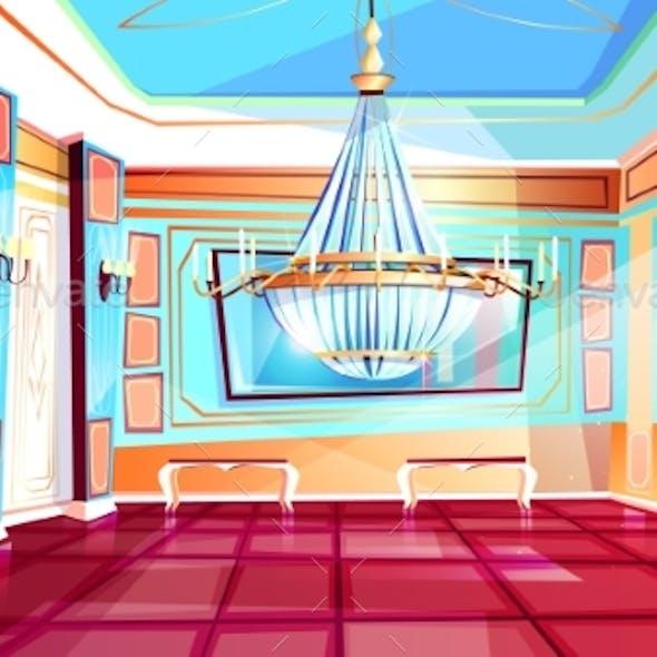 Ballroom with Chandelier Vector Illustration