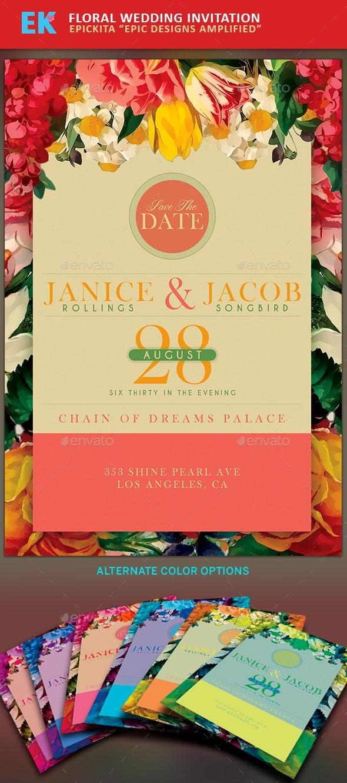 Floral Wedding Invitation - Cards & Invites Print Templates