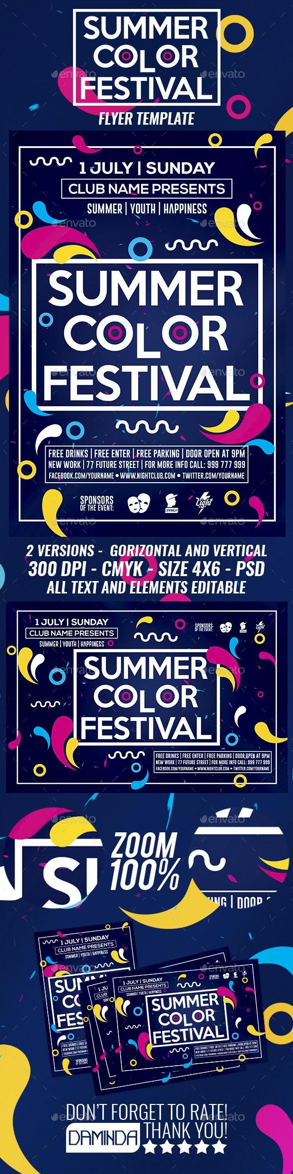 Summer Color Fest 2018 Flyer Template - Clubs & Parties Events