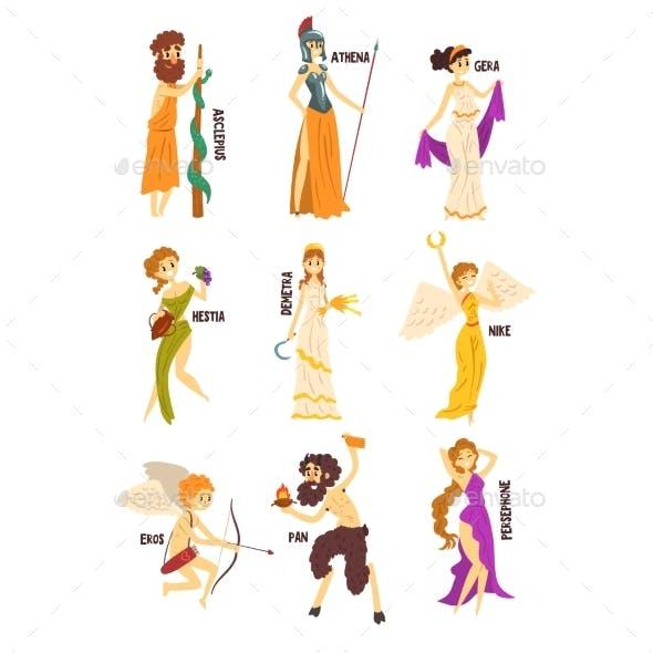 Olympian Greek Gods Set, Persephone, Nike, Demetra