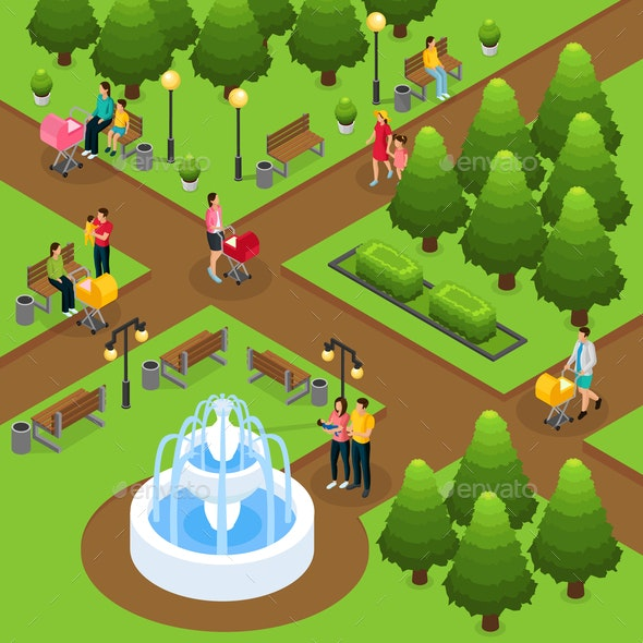 Isometric People In Public Park Template - People Characters