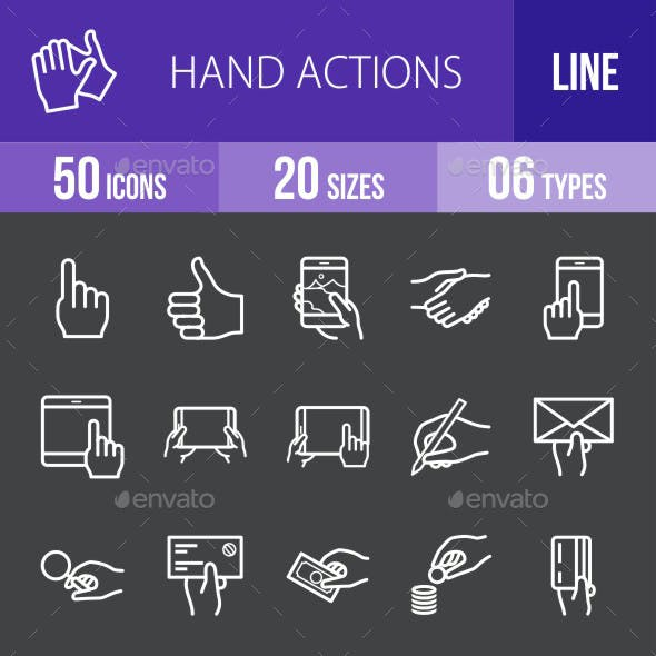 Hand Actions Line Inverted Icons