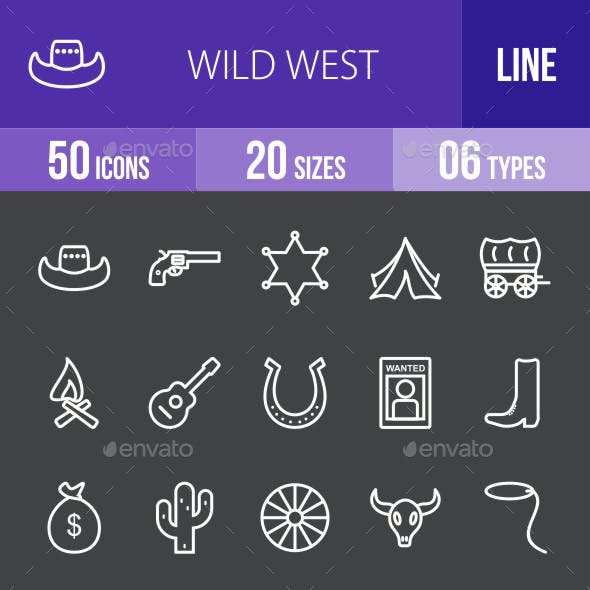 Wild West Line Inverted Icons