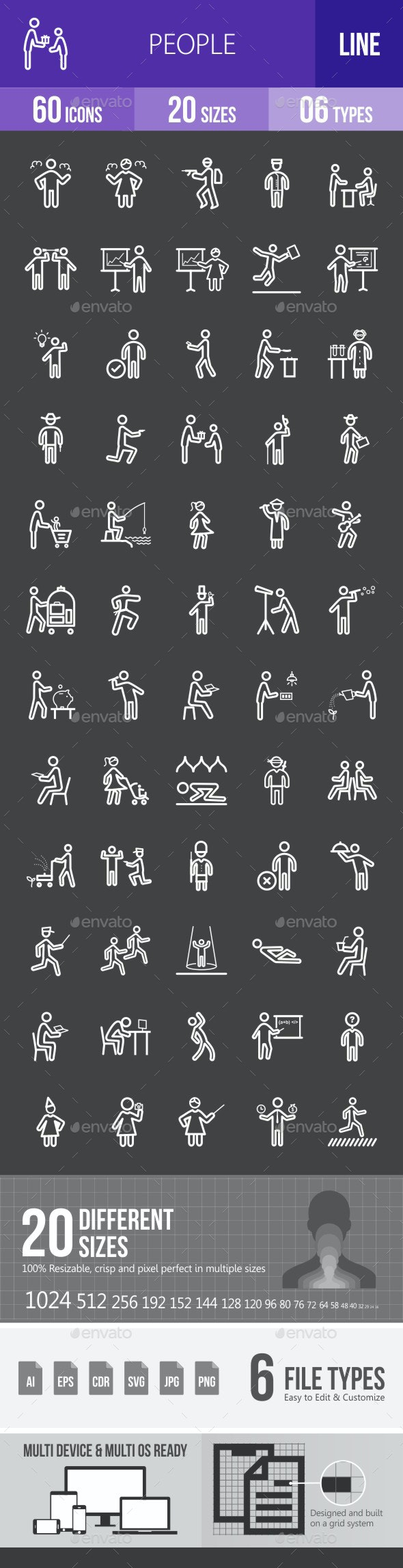 People Line Inverted Icons - Icons