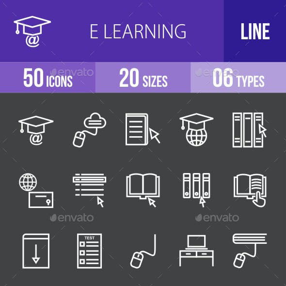 E Learning Line Inverted Icons