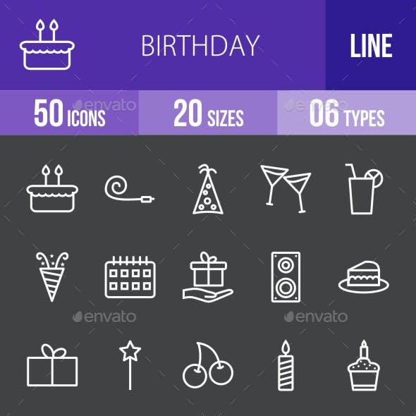 Birthday Line Inverted Icons