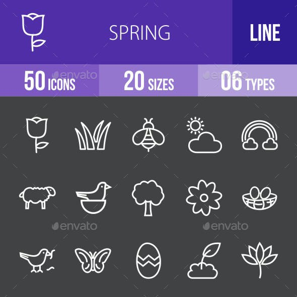 Spring Line Inverted Icons