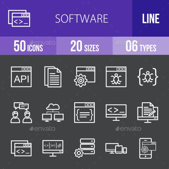 Software Development Line Inverted Icons