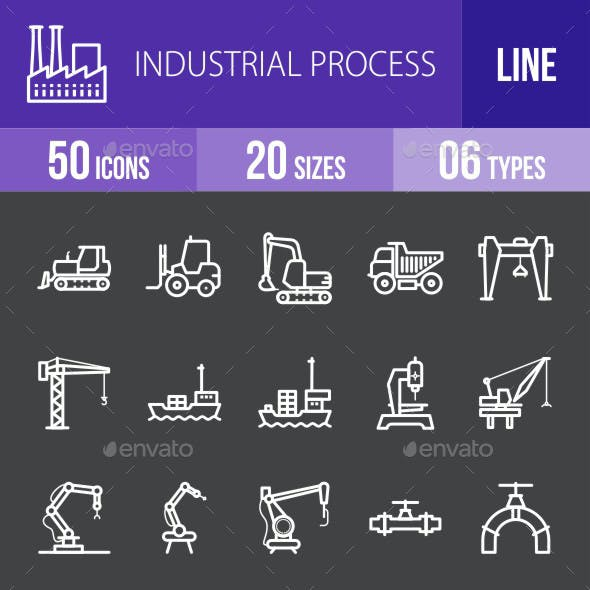 Industrial Process Line Inverted Icons