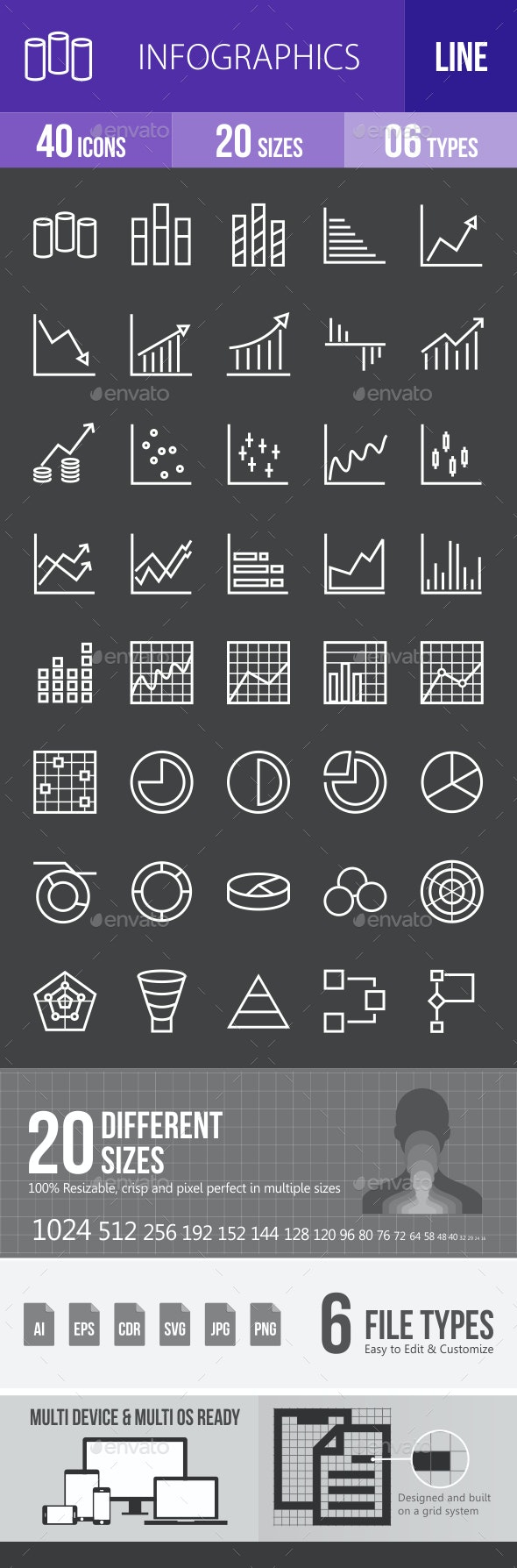 Infographics Line Inverted Icons - Icons
