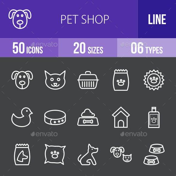 Pet Shop Line Inverted Icons