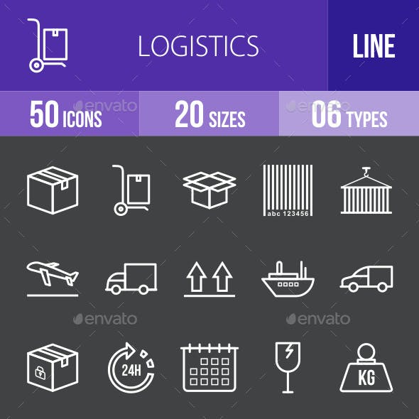 Logistics Line Inverted Icons