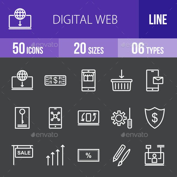 Digital Web Line Inverted Icons