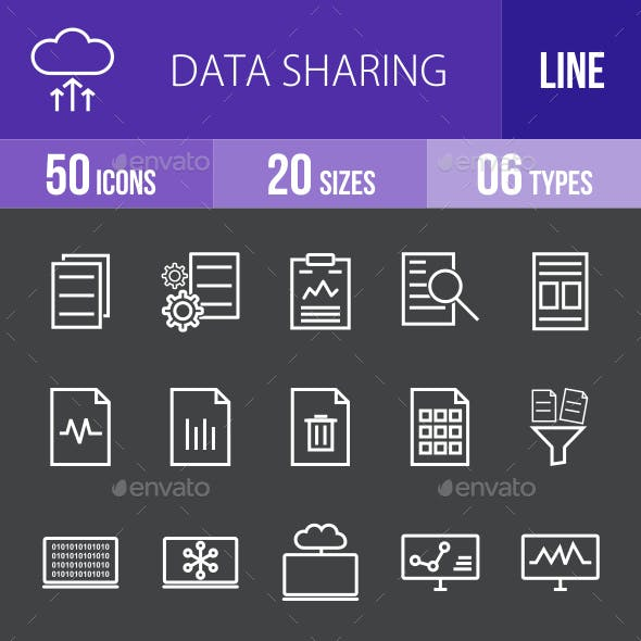 Data Sharing Line Inverted Icons