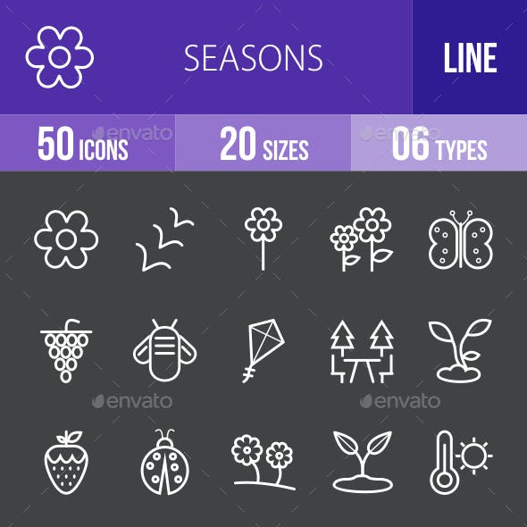 Seasons Line Inverted Icons