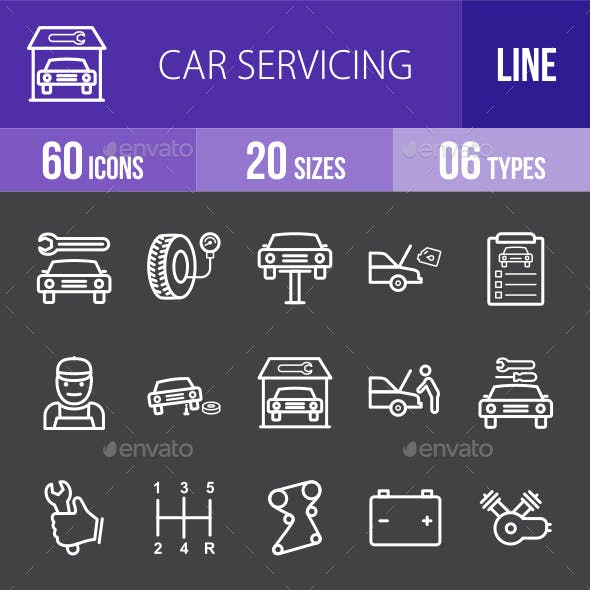 Car Servicing Line Inverted Icons