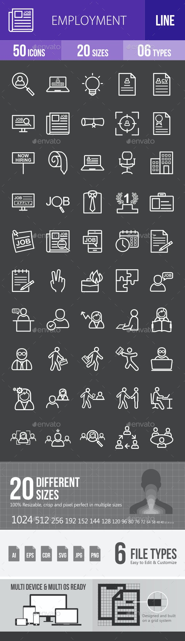 Employment Line Inverted Icons - Icons
