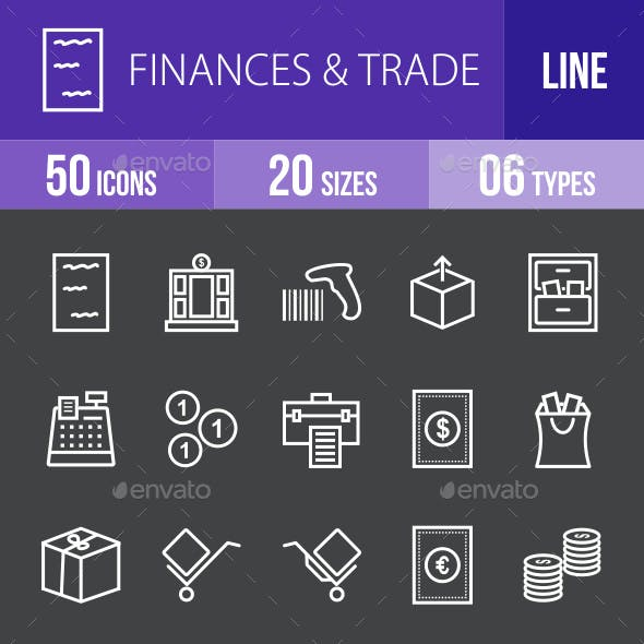 Finances & Trade Line Inverted Icons