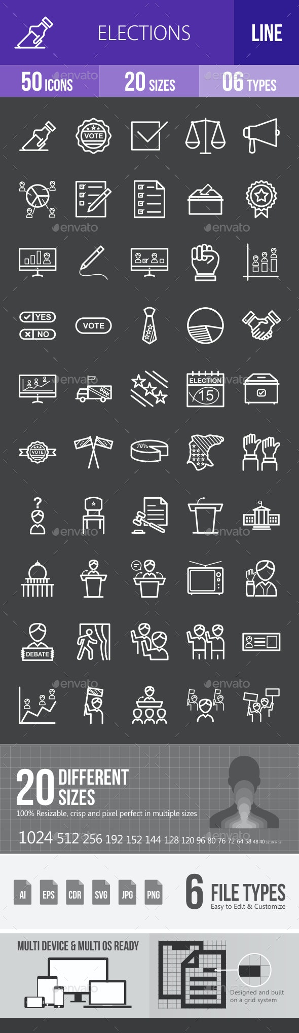 Elections Line Inverted Icons - Icons