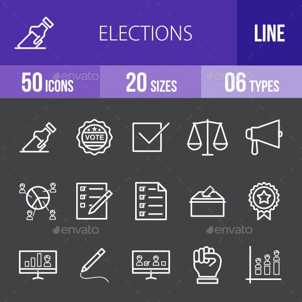 Elections Line Inverted Icons