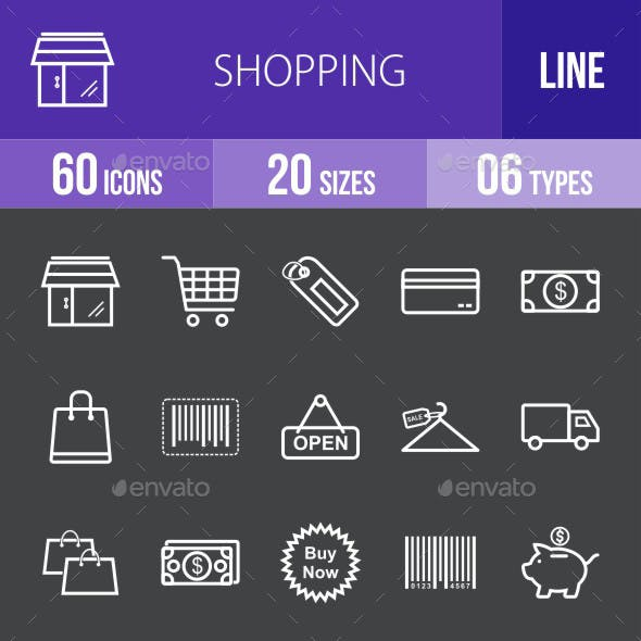 Shopping Line Inverted Icons