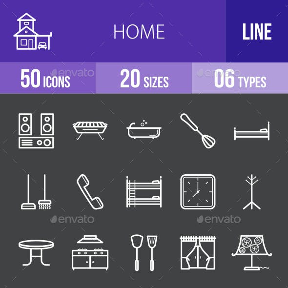 Home Line Inverted Icons