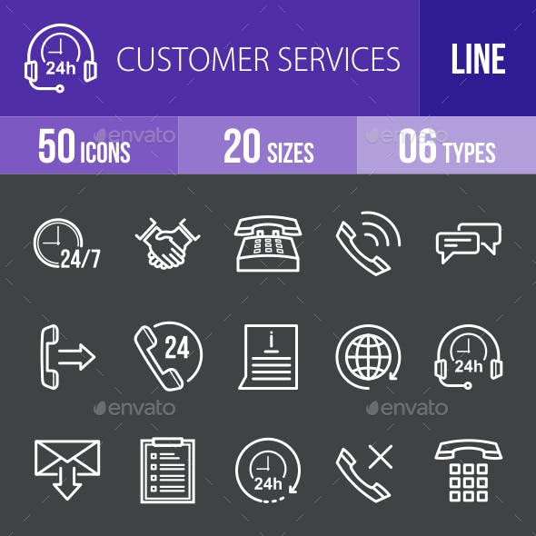 Customer Services Line Inverted Icons