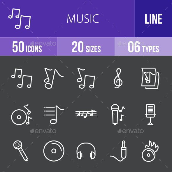 Music Line Inverted Icons