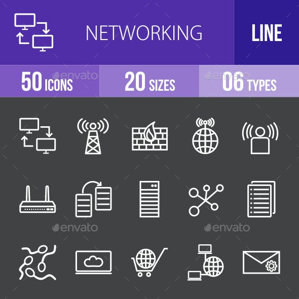 Networking Line Inverted Icons