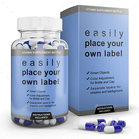 Transparent Pill Bottle and Box (Clear and Amber) - Packaging Product Mock-Ups