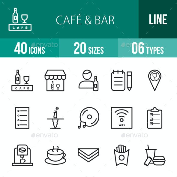 Cafe & Bar Line Icons