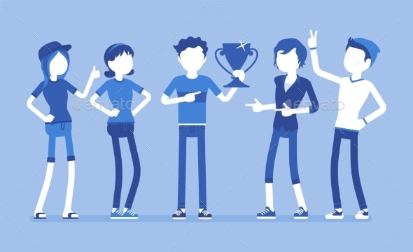 Male Winner and Supporting Friends - Miscellaneous Vectors