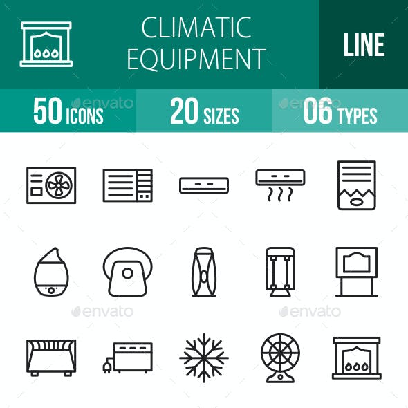 Climatic Equipment Line Icons
