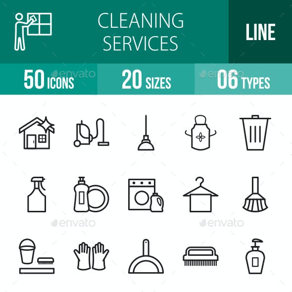 Cleaning Services Line Icons