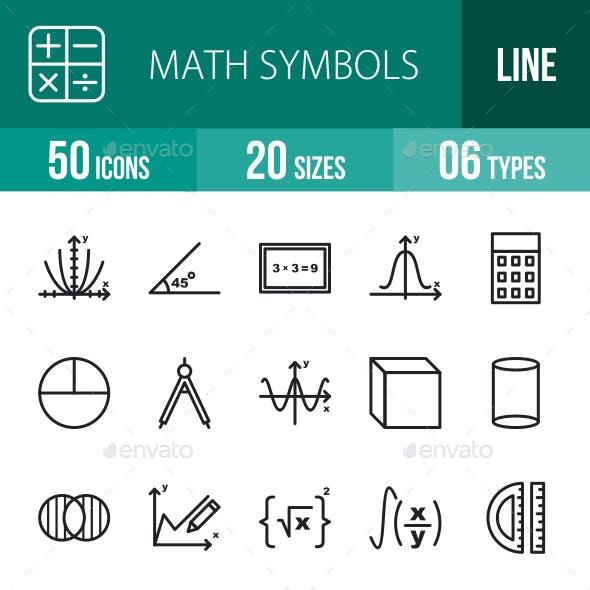 Math Symbols Line Icons