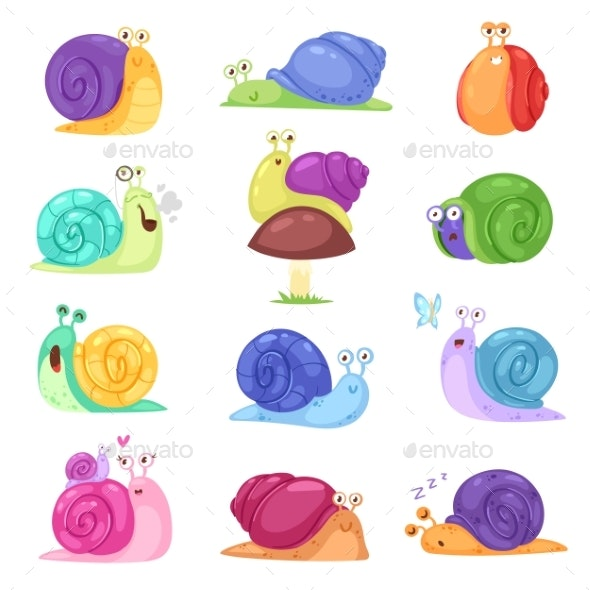 Snail Vector Snail-shaped Character with Shell - Animals Characters