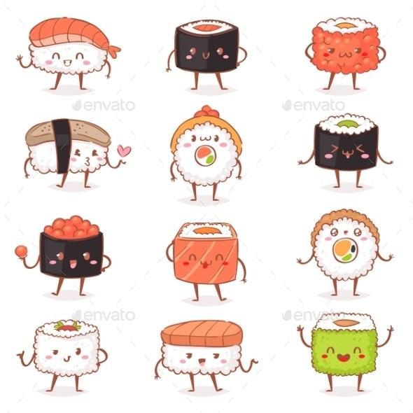 Sushi Kawaiivector Japanese Food Sashimi Roll - Food Objects