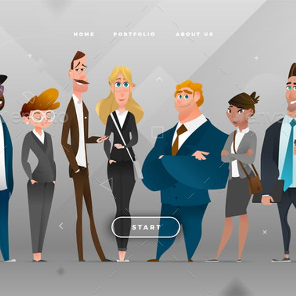 Main Page Business Design with Cartoon Character