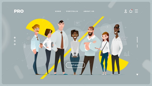 Main Abstract Web Page with Cartoon Business Characters - People Characters