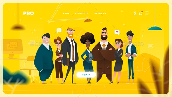 Main Page Web Design with Business Cartoon Characters - Business Conceptual